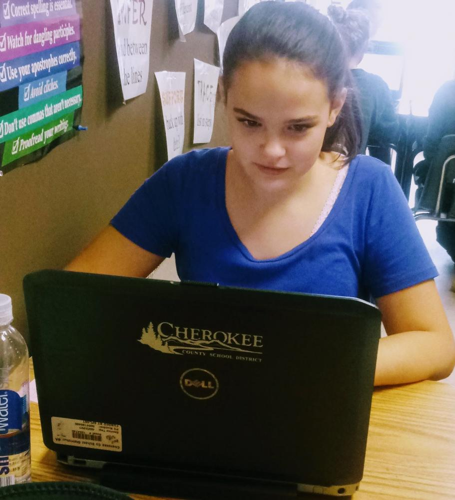 Nicole writing her articles