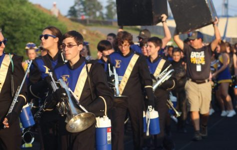 Behind-the-scenes: marching band and color guard